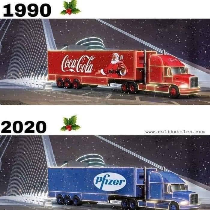 Świąteczna ciężarówka: 1990 - Coca-Cola, 2020 - Pfizer